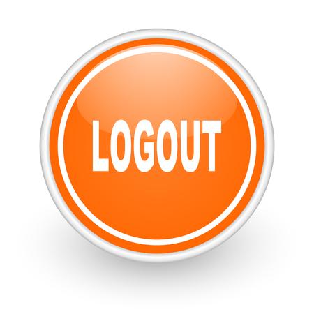 Log Out: orange web button on white background Stock Photo