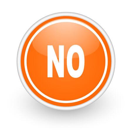 negate: orange web button on white background Stock Photo
