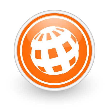 meridian: orange web button on white background Stock Photo