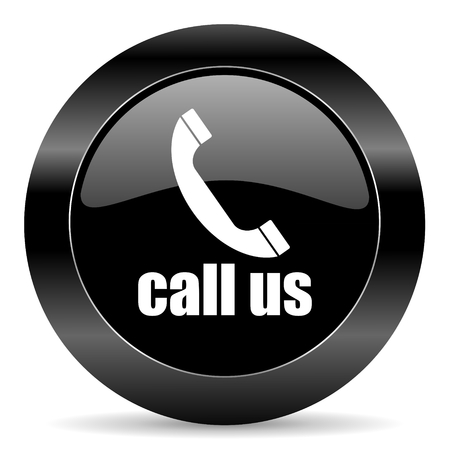 call us: black circle web button on white background