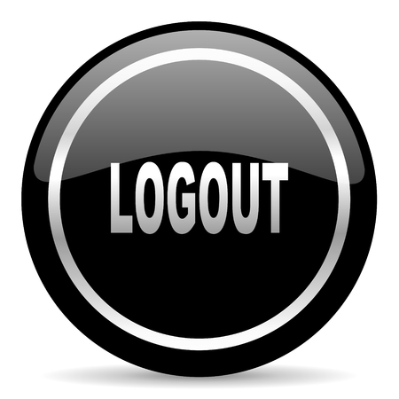 Log Out: black web button on white background