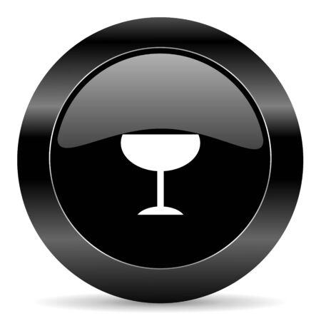 champain: black circle web button on white background