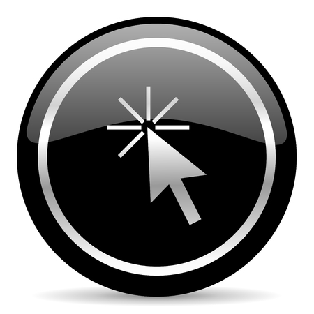 click here: black web button on white background