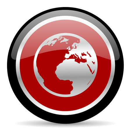 parallels: red glossy web button on white background Stock Photo