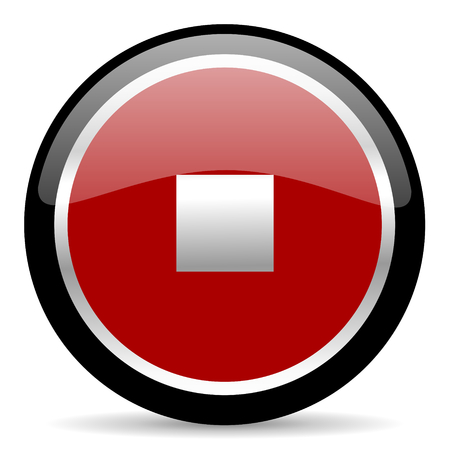 red glossy web button on white background photo