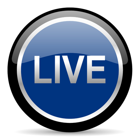 livestream: blue web button Stock Photo
