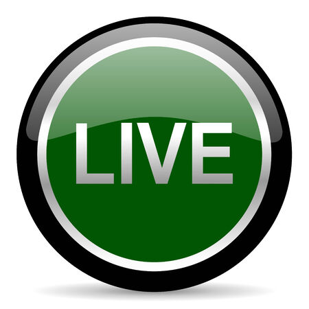 news cast: green web button Stock Photo