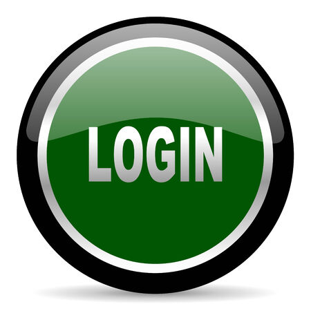 Log Out: green web button Stock Photo