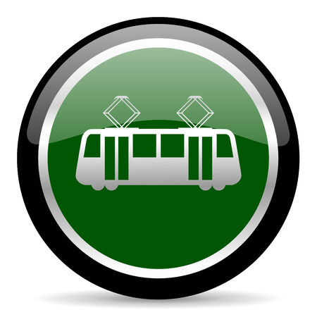 streetcar: green web button Stock Photo