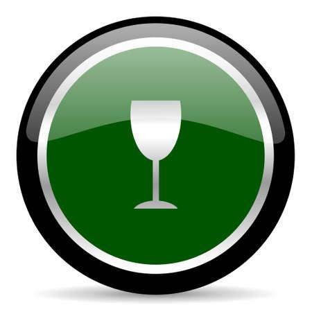 champain: green web button Stock Photo