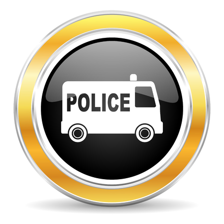 highway patrol: black web button with golden ring Stock Photo