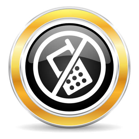 no cell phone: black web button with golden ring Stock Photo