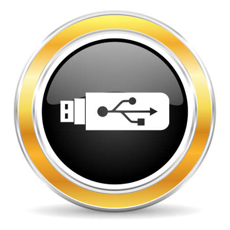 pendrive: black web button with golden ring Stock Photo