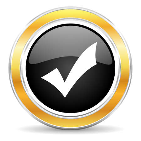 yea: black web button with golden ring Stock Photo