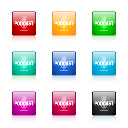 podcasting: set of colorful icons