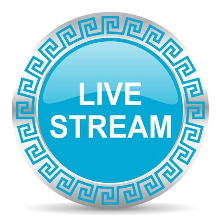 live stream tv: blue web button in greek style