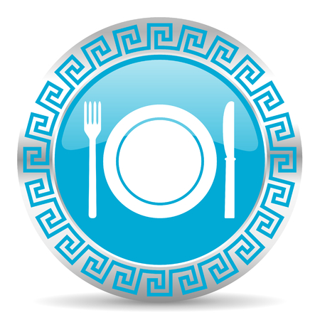 greek chef: blue web button in greek style