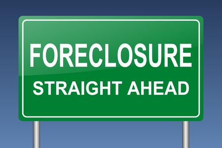 repossession: foreclosure straight ahead sign Stock Photo