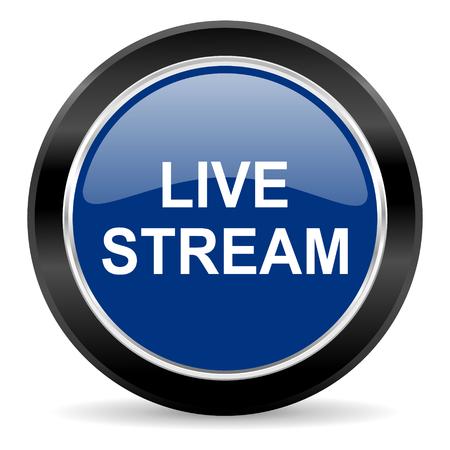 live stream tv: blue circle web button
