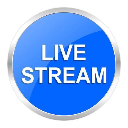live stream tv: blue web icon isolated