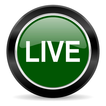 live stream sign: green glossy web button Stock Photo