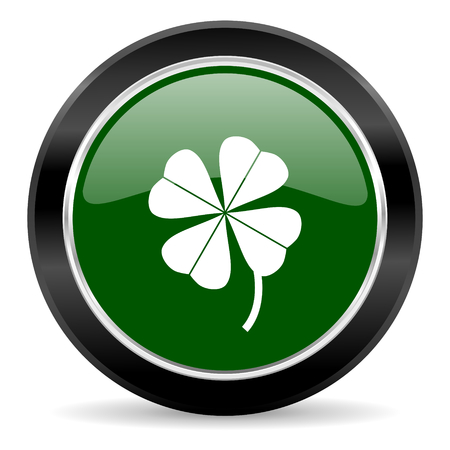 fourleaf: green glossy web button Stock Photo