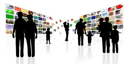 jonge mensen met kinderen multimedia achtergrond