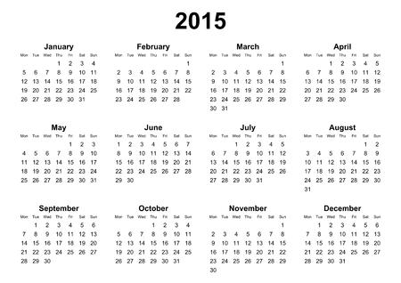 mondays: simple calendar 2015 mondays firts