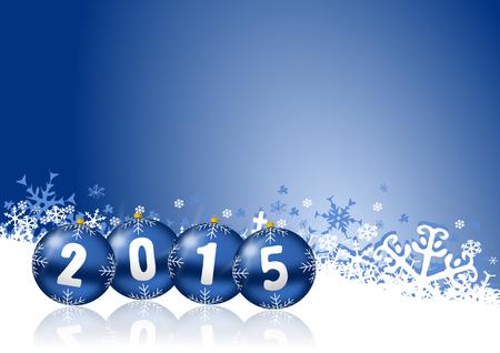 nouvel an: 2015 nouvelles ann�es illustration avec des boules de No�l