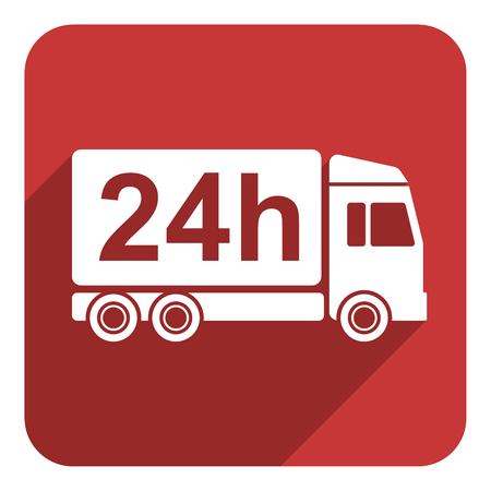 24 hours delivery flat icon photo