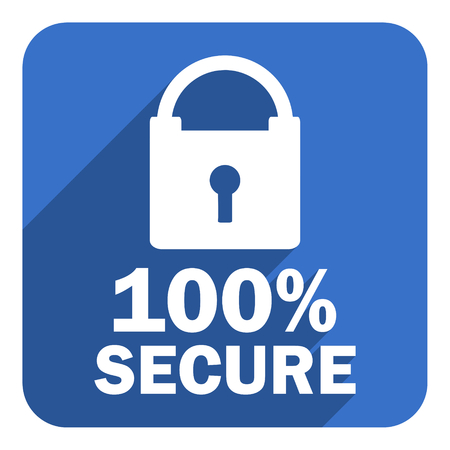 100 percent secure flat icon photo