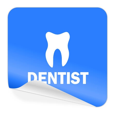 dentista icono de etiqueta azul photo