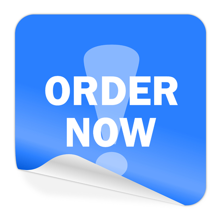 order now blue sticker icon  photo