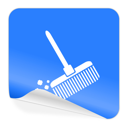 broom blue sticker icon  photo
