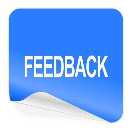 feedback blue sticker icon  photo