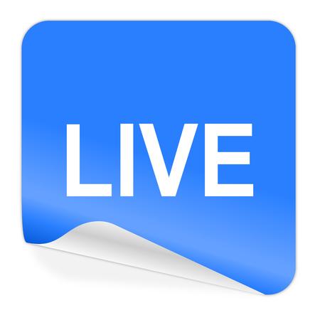 live blue sticker icon  Stock Photo