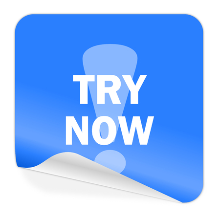 try now blue sticker icon  photo
