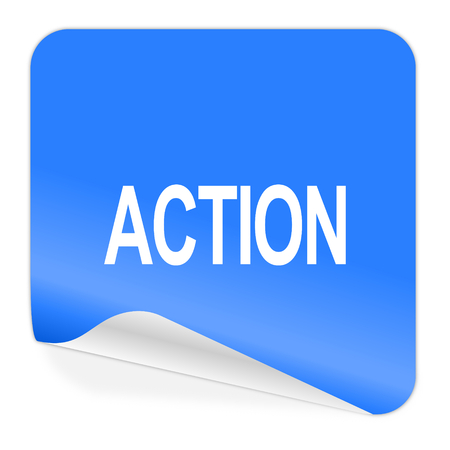 action blue sticker icon   photo
