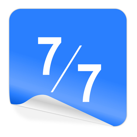 7 per 7 blue sticker icon  photo