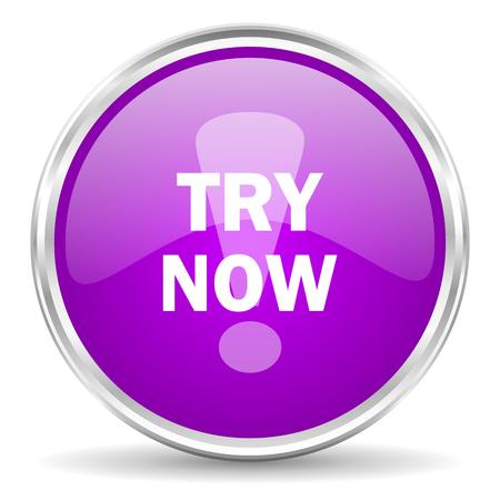 test probe: violet - silver circle web icon Stock Photo