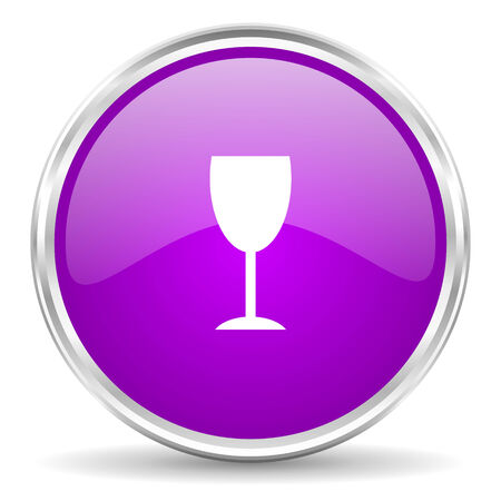 champain: violet - silver circle web icon Stock Photo