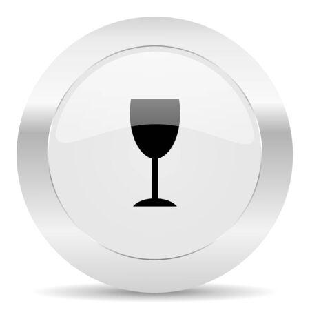 champain: silver white web glossy icon