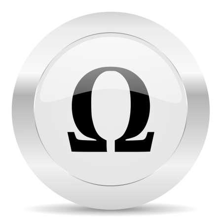 greek alphabet: silver white web glossy icon