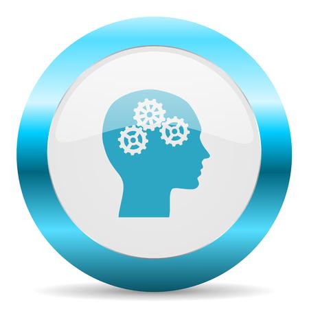 brainy: blue white circle web glossy icon