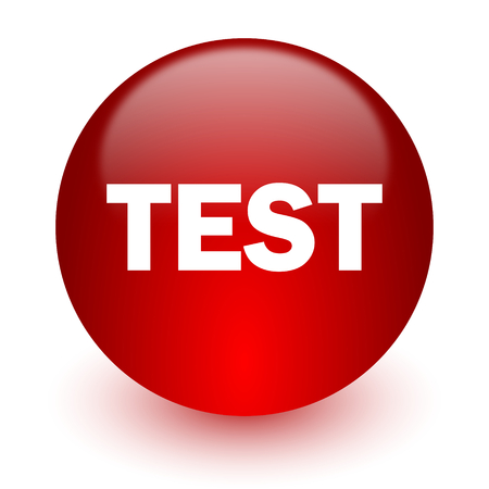 test red computer icon on white background  photo