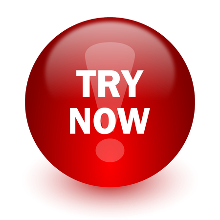 try now red computer icon on white background  photo