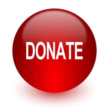 donate red computer icon on white background  photo