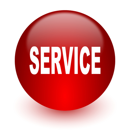 service sphere support web: red computer icon on white background