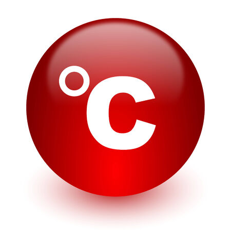 celcius: red computer icon on white background