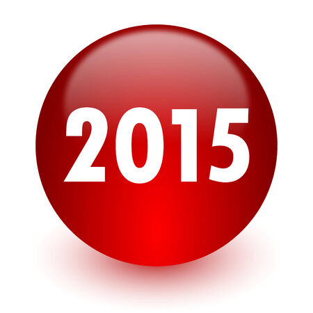 new year 2015 red computer icon on white background  photo